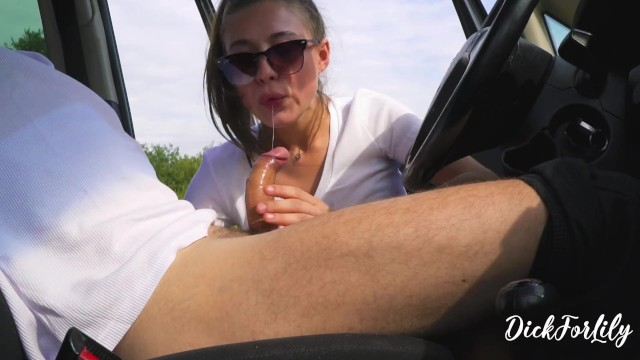 Stranger Fingering My Dick And Doing Blowjob In The Car Cum In Throat