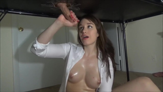 College Girl Swallows Cum Under Table