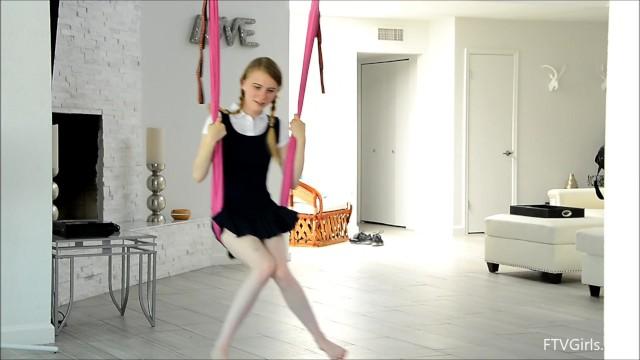 Charlotte Carmen No Panties Schoolgirl Dancing