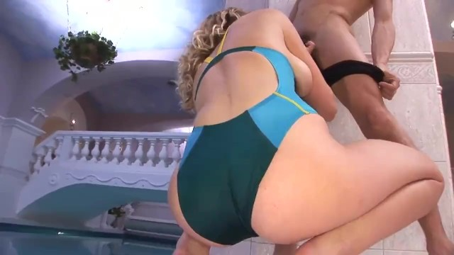 Blonde In Blue Swimsuit Fucked